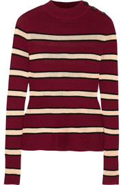 Devona striped stretch-knit sweater
