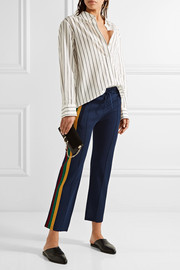 Dobbs cropped striped stretch-knit straight-leg pants