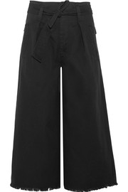Odea cropped cotton-twill wide-leg pants
