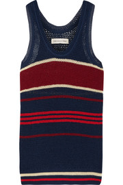 Dully striped open-knit tank