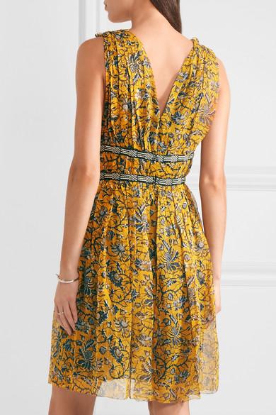 NWT ISABEL MARANT ETOILE Balzan Gathered Floral Printed Silk Georgette Dress