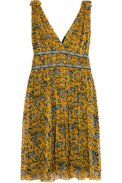 Étoile Isabel Marant - Balzan Gathered Printed Silk-georgette Mini Dress - Yellow