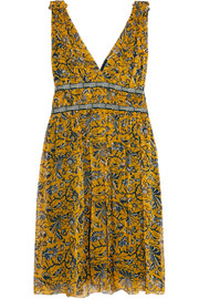 Étoile Isabel Marant Balzan gathered printed silk-georgette mini dress