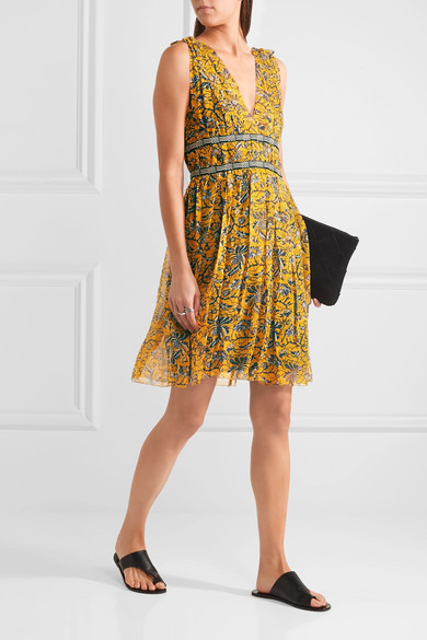 Balzan Gathered Printed Silk Georgette Mini Dress