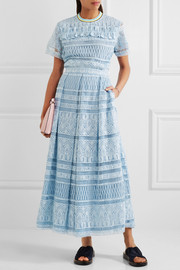 Heart guipure lace maxi skirt