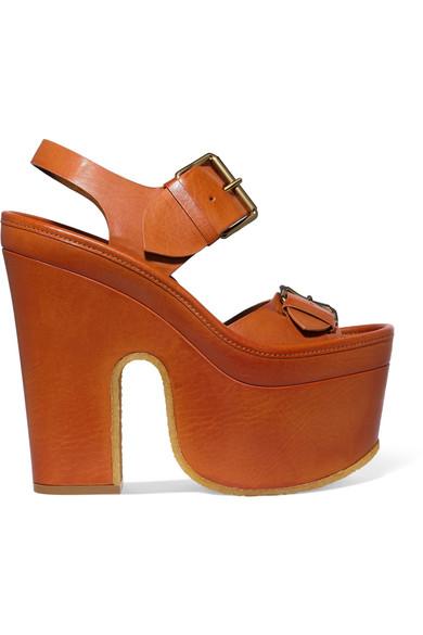 Stella McCartney - Faux Leather Platform Sandals - Camel