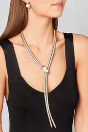 14-karat gold, metallic leather and pearl necklace