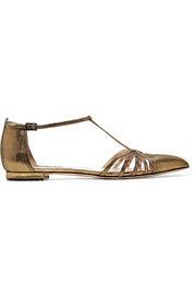 SJP By Sarah Jessica Parker Carrie metallic leather point-toe flats