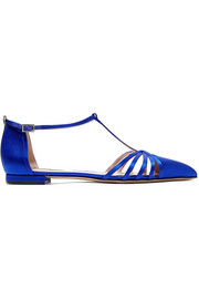 Carrie satin point-toe flats