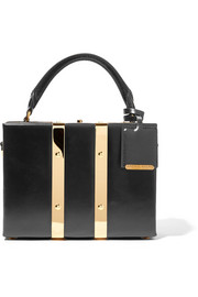 Albany mini glossed-leather tote