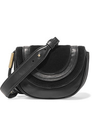 Diane von Furstenberg Bullseye Mini suede-paneled leather shoulder bag