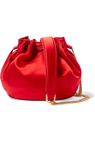 Diane von Furstenberg - Love Power Mini Leather-trimmed Satin Bucket Bag - Red