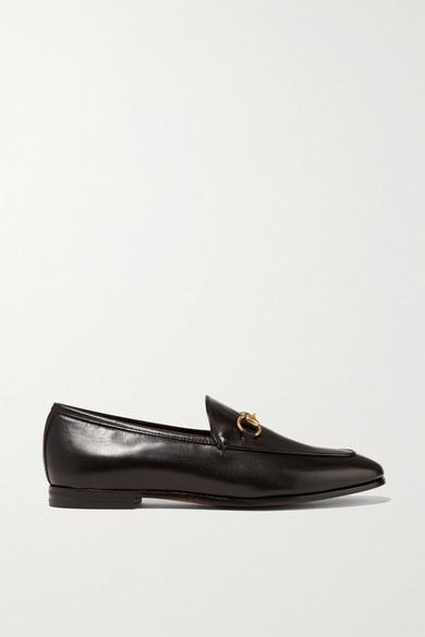 gucci female 188971 gucci horsebitdetailed leather loafers black