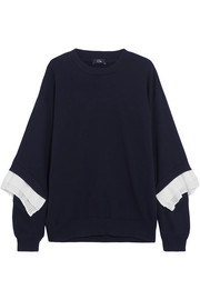 Crepe-trimmed cotton-jersey sweatshirt