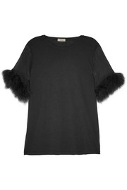 Faux fur and silk organza-trimmed cotton and modal-blend top