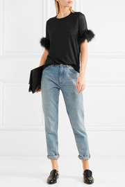 CLU Faux fur and silk organza-trimmed cotton and modal-blend top
