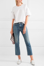 CLU Bow-embellished cotton-jersey and poplin top