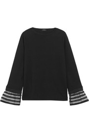 Striped tulle-trimmed cotton-jersey top
