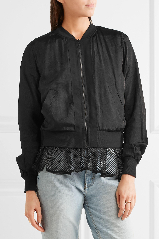 CLU Mesh-trimmed satin bomber jacket