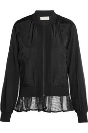 Mesh-trimmed satin bomber jacket