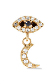 Eye and Moon 18-karat gold, diamond and sapphire earring