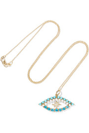 Ileana Makri Shiny Star Eye 18-karat gold multi-stone necklace