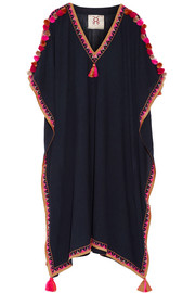 Elettra embellished embroidered cotton-blend gauze kaftan
