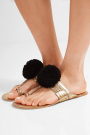 Leo pompom-embellished metallic leather sandals
