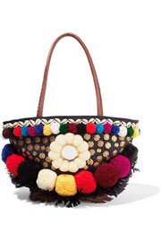 Zena Tuk Tuk leather-trimmed embellished canvas tote