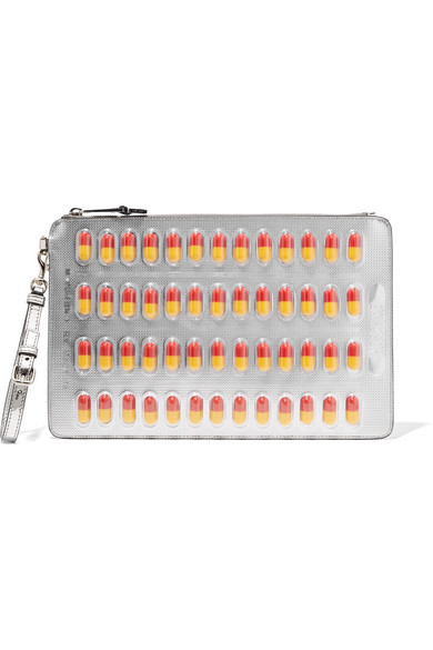 Moschino - Embellished Metallic Faux Leather Clutch - Silver