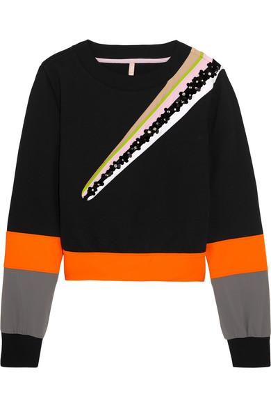 no kaoi female no kaoi wili embellished striped cottonblend jersey sweatshirt black