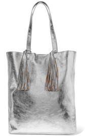 Tasseled metallic textured-leather tote