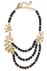 Oscar de la Renta Sea Tangle gold-plated, jet and Swarovski crystal necklace