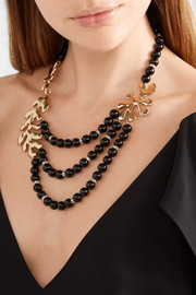 Oscar de la Renta Sea Tangle gold-tone, jet and Swarovski crystal necklace