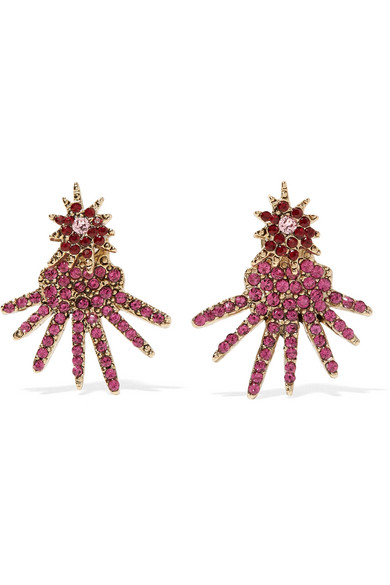 Oscar de la Renta - Gold-tone Crystal Earrings