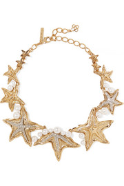 Oscar de la Renta Sea Star gold and silver-tone, Swarovski crystal and pearl necklace