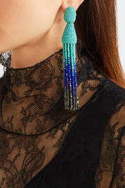 Oscar de la Renta Ombré beaded clip earrings