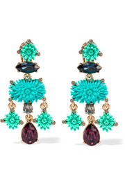 Oscar de la Renta Dahlia gold-plated, resin and Swarovski crystal clip earrings