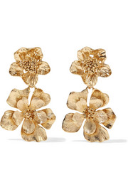 Oscar de la Renta Gold-tone clip earrings