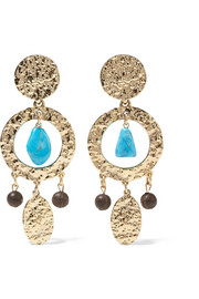 Oscar de la Renta Gold-plated, turquoise and faux wood clip earrings