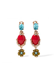 Oscar de la Renta Gold-plated, Swarovski crystal and resin clip earrings