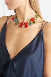 Oscar de la Renta Gold-plated, Swarovski crystal and resin necklace