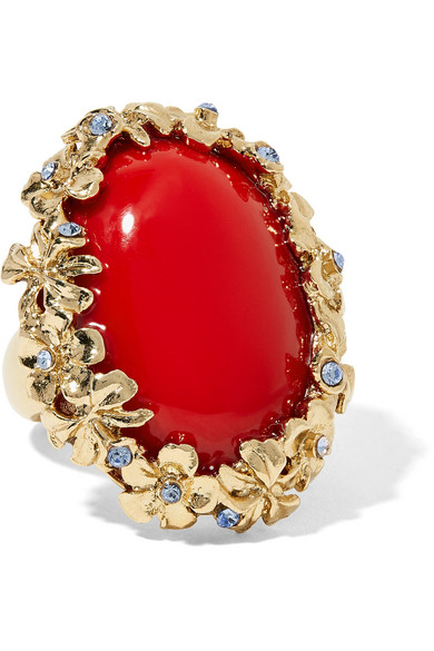 Oscar de la Renta - Gold-plated, Swarovski Crystal And Resin Ring