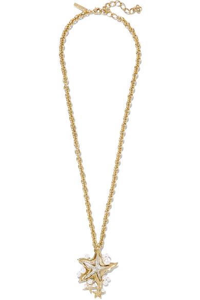 Oscar de la Renta - Sea Star Convertible Gold-plated, Swarovski Crystal And Faux Pearl Necklace