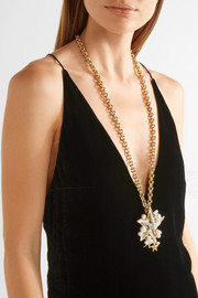 Oscar de la Renta Sea Star convertible gold-plated, Swarovski crystal and faux pearl necklace