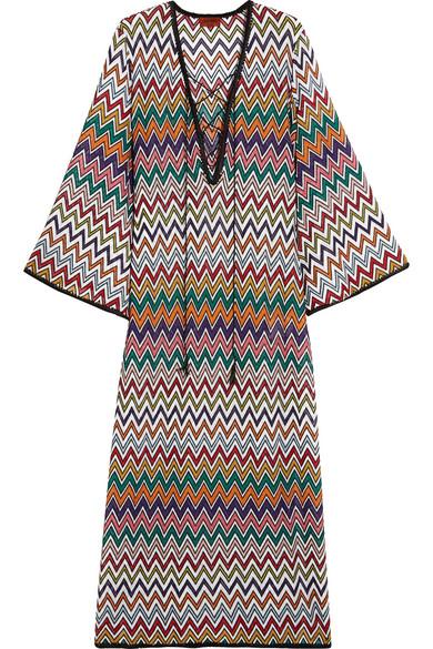 Missoni - Mare Lace-up Crochet-knit Kaftan - Orange