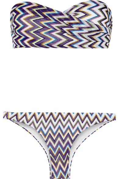 Missoni - Mare Metallic Crochet-knit Bandeau Bikini - Purple