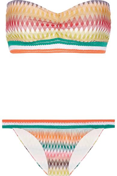 Missoni - Mare Rhombus Crochet-knit Bandeau Bikini - Orange
