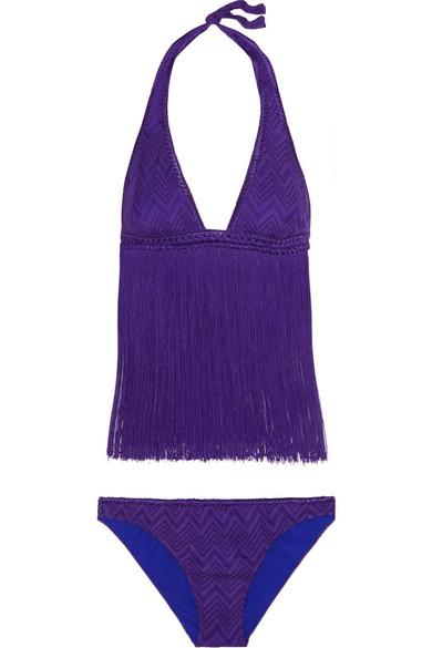 Missoni - Mare Fringed Crochet-knit Bikini - Purple