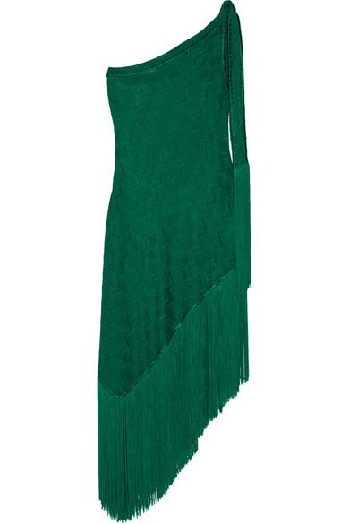 Missoni - Mare Asymmetric One-shoulder Fringed Crochet-knit Dress - Emerald